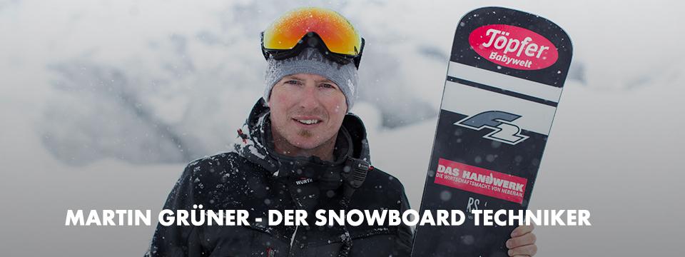 Mit der Winterjacke und der warmen Mütze ist Martin Grüner der Techniker der Snowboard-Athleten und trägt eines der individuell angepasste Snowboards.