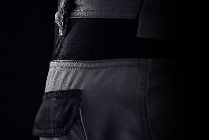 Arbeitshosen mit hohem Tragekomfort durch elastischen Bundeinsatz als Zoombild