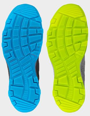 Arbeitsschuhe mit grüner oder blauer Laufsohle SRC und rutschhemmend