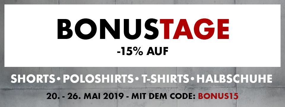 Bonustage: 15% auf Shorts, T-Shirts, Polos & Halbschuhe