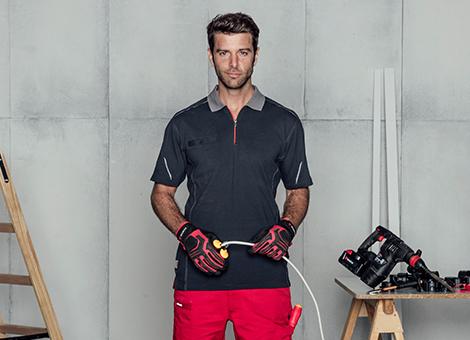 Arbeitsoutift & Look mit Stretch X Poloshirts für Profis