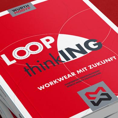 LoopThinking: Workwear mit Zukunft Logo auf rotem Hintergrund