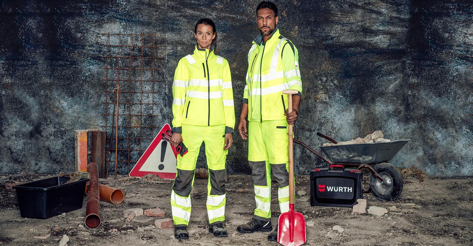 Reflektierende Kleidung in Gelb EN 20471: Bundhosen, Softshelljacken und Langarmshirts