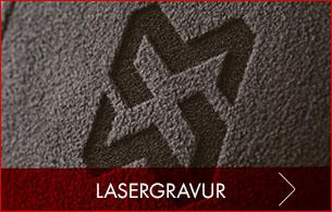 Logo Lasergravur & dezente Werbung für Fleccetextilien