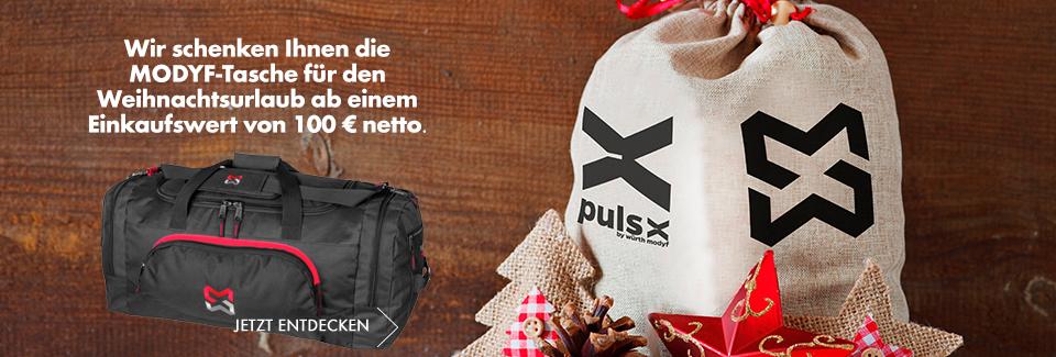 Wir schenken Ihnen die MODYF-Tasche für den Weihnachtsurlaub ab einem Einkaufswert von 100 € netto